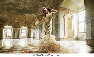 moda, arte, foto, jovem, multa, interior, elegante, senhora