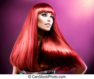 moda, beleza, hair., modelo, longo, saudável, vermelho, direito