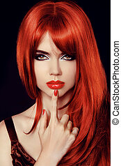 moda, beleza, saudável, direito, isolado, longo, mulher, model., hair., excitado, black., vermelho, secret.