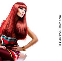moda, beleza, saudável, direito, longo, hair., modelo, menina, vermelho