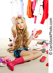 moda, guarda-roupa, bastidores, vítima, sujo, menina, criança