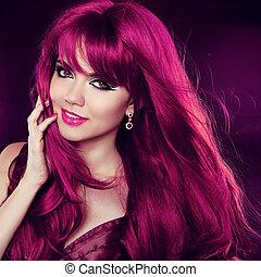 moda, hairstyle., beleza, cacheados, longo, hair., retrato, menina, woman., vermelho