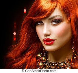 moda, jóia, haired, portrait., menina, vermelho