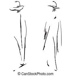 moda, meninas, sketch.