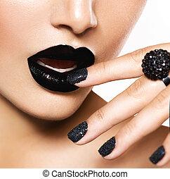 moda, pretas, maquilagem, manicure, lips., trendy, caviar