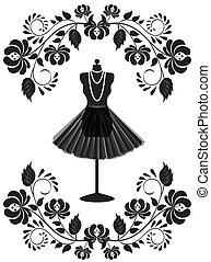 moda, quadro, colar, mannequin, floral, saia, cartão