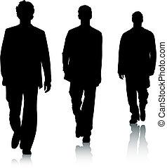 moda, silueta, homens