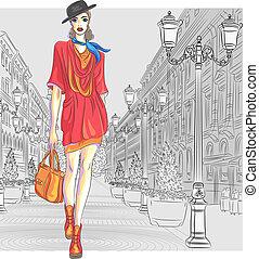 moda, st., vetorial, atraente, vai, menina, petersburg