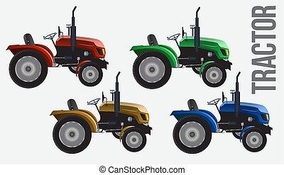 mode., vetorial, modernos, isolado, agrícola, lado, máquina, cinzento, cor, vista, realístico, quatro, experiência., trator