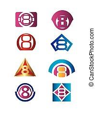 modelo, 8, número, logotipo, ícone, desenho