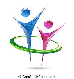 modelo, abstratos, logotipo, vetorial, figuras, human