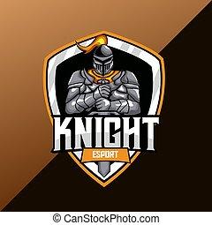 modelo, cavaleiro, logotipo, guerreira, mascote