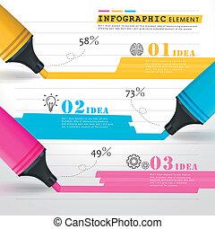 modelo, coloridos, desenho, marcas, criativo, linhas, infographic