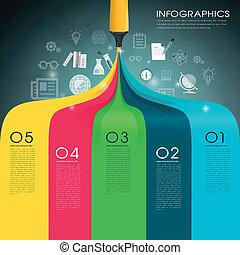 modelo, desenho, arco íris, marca, criativo, caneta, infographic