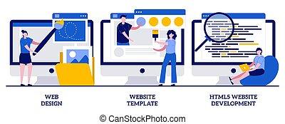 modelo, experiência, aterragem, html5, desenvolvimento, construtor, usuário, conceito, desenho, abstratos, vetorial, interface, minúsculo, pessoas., predios, ilustração, plataforma, site web, set., página, serviço, teia