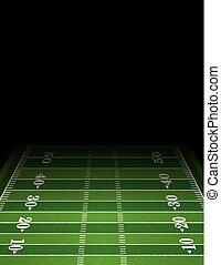 modelo, futebol americano, fundo, campo, ilustração