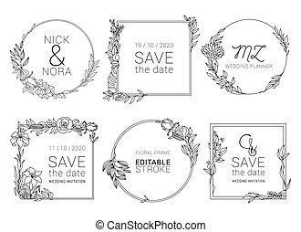 modelo, grinalda, floral, casório, mínimo, convite, vetorial, design.