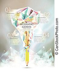 modelo, iced, caneta, criativo, infographic