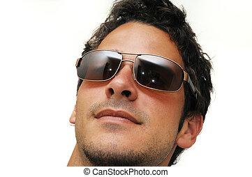 modelo, macho, óculos de sol