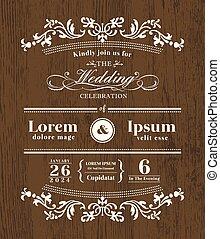 modelo, madeira, vindima, convite, tipografia, desenho, fundo, casório