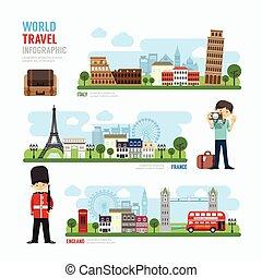 modelo, marco, viagem, ilustração, europa, ao ar livre, infographic., vetorial, desenho, conceito