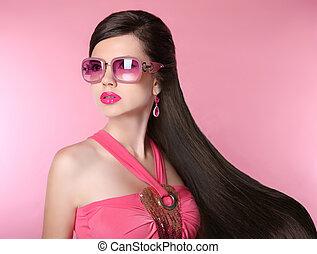 modelo, moda, óculos de sol, menina, beleza