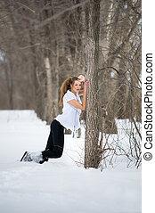 modelo, moda, posar, inverno
