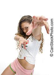 modelo, pose, femininas, dançar