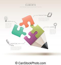 modelo, quebra-cabeça, criativo, infographic, lápis