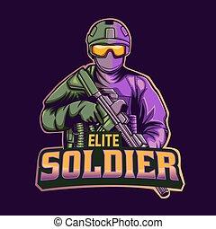 modelo, soldado, elite, mascote, logotipo