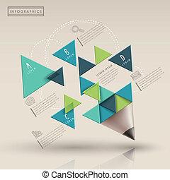 modelo, triaingle, criativo, infographic, lápis