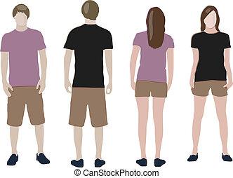 &, modelos, back), t-shirt, desenho, (front