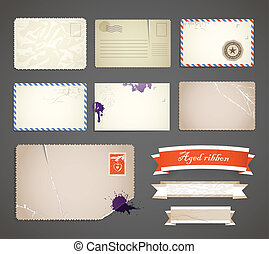 modelos, cartão postal, fitas, cobrança, vindima