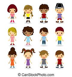 modelos, crianças, jogo