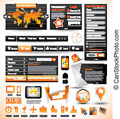 modelos, teia, prêmio, elements., ícones, gráficos, infographics, mapa, material, desenho, setas, lote, mestre, histograms, collection:, relatado