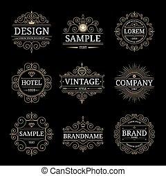 modelos, vindima, jogo, luxo, logotipo