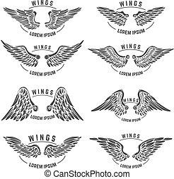 modelos, wings., jogo, emblema, vindima, elementos, desenho