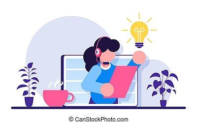 modernos, assistente, cliente, operator., operador, illustration., apartamento, 24-7., hotline, ajuda, client., técnico, femininas, aconselha, online, conceito, virtual, service., apoio