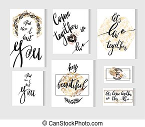 modernos, colors., amor, citação, jogo, vetorial, mão, fases, modelos, lettering, cartões, dourado, grande, desenhado, inspirations, pretas, cobrança, manuscrito, tinta, branca