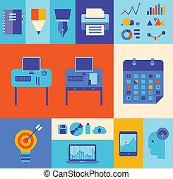 modernos, jogo, ilustração negócio, workflow