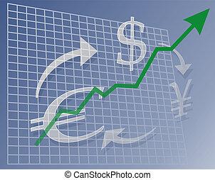 moeda corrente, mapa, cima