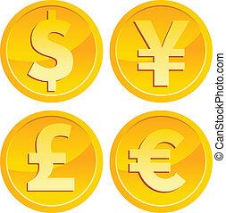 moeda corrente, moedas, ouro