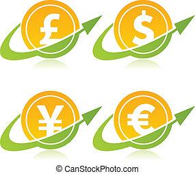 moeda corrente, moedas, seta