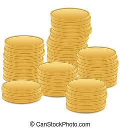 moeda, pilha, ouro