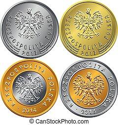 moeda, zloty, dinheiro, obverse, polaco, jogo