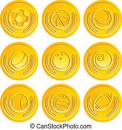 moedas, desporto, bolas ouro