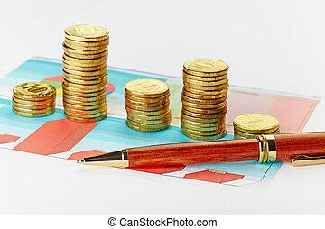 moedas., mapa, foco, caneta, seletivo, multi-colorido, pilhas