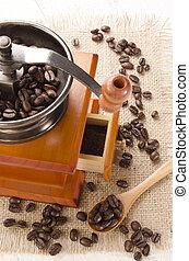 moedor, café, usado, feijões