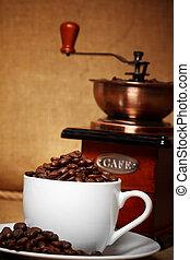 moedor café, vida, escuro, retro, ainda
