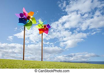 moinho de vento, conceito, fazenda, energia, brinquedo, verde, mar, vento